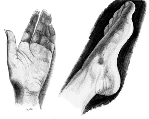 hand and foot pencil drawing