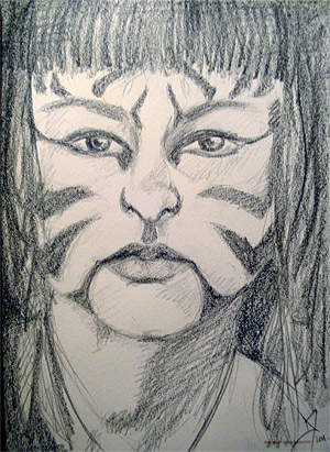 portrait sketch tiger facepaint