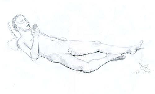 Male nude figure pencil drawing