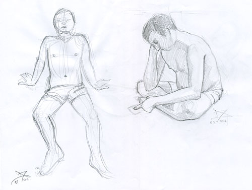 Male figure pencil drawings