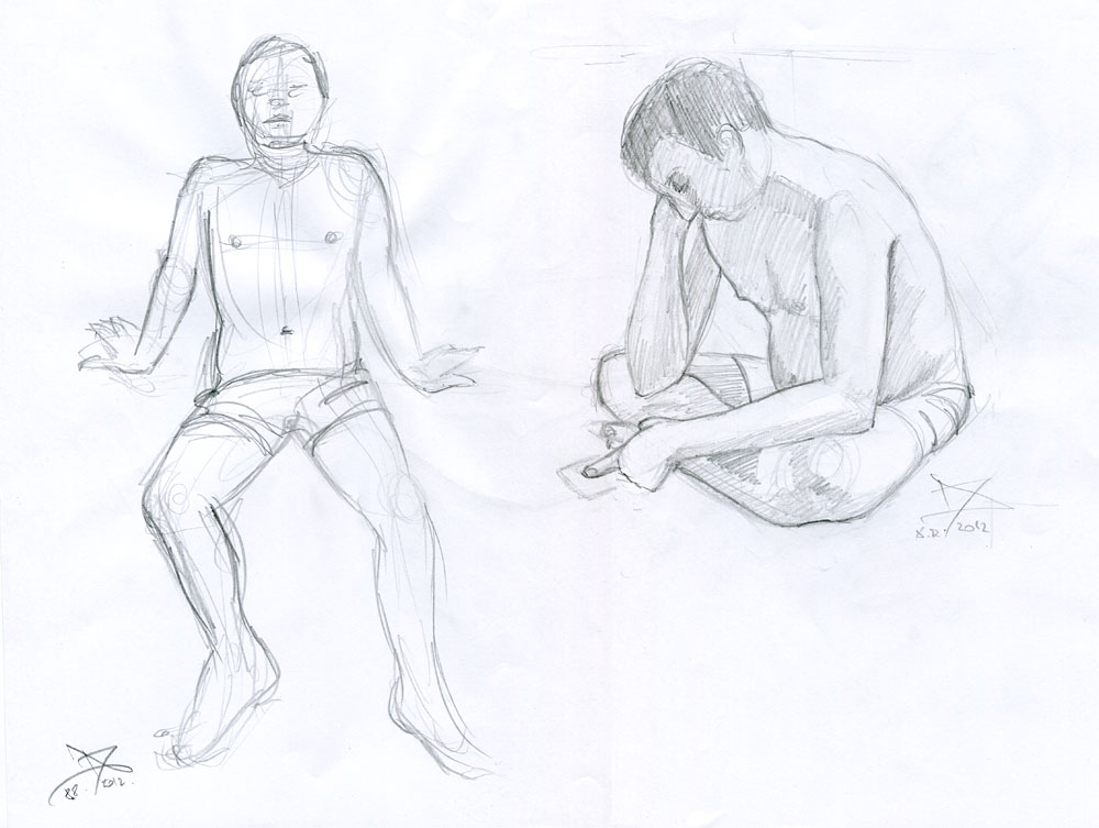 Male figure studies from life | Sketchblog of Nela Dunato - Cwtam