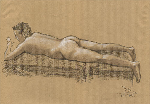 Male nude figure drawing on toned paper