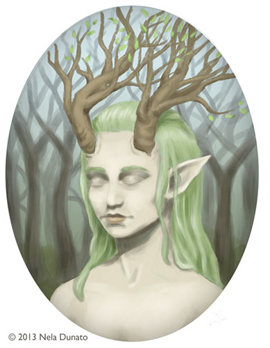 Daughter of the Forest color study, painted in Photoshop