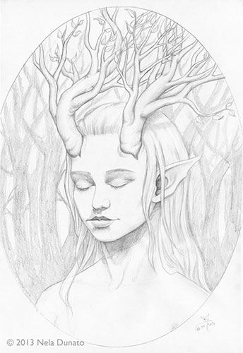 Daughter of the Forest study, graphite pencil on 30x40cm paper