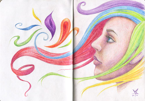 The Sketchbook Project entry - colorful portrait