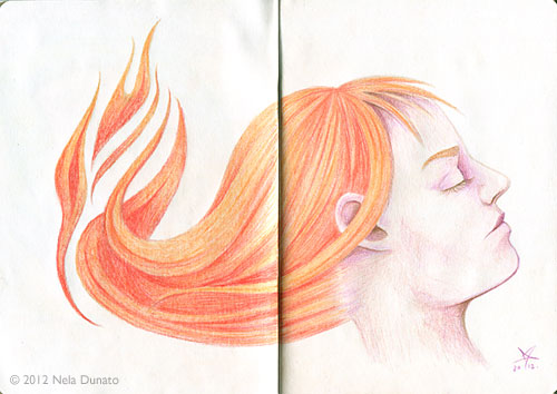 The Sketchbook Project entry - hot headed fiery redhead