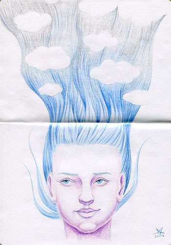 The Sketchbook Project entry - forgetful portrait