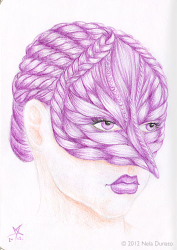 The Sketchbook Project entry - mask hair portrait
