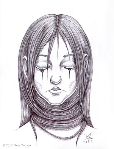 Depression - ballpoint pen portrait