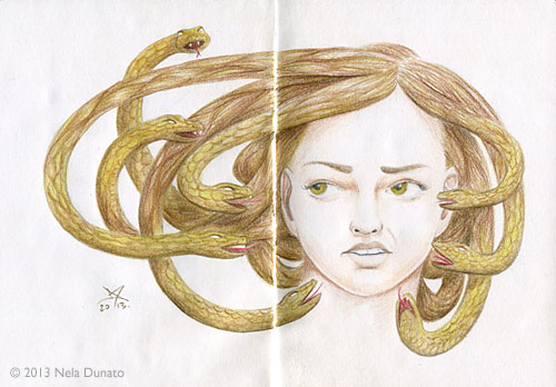 Self-criticism - colored pencil fantasy medusa portrait