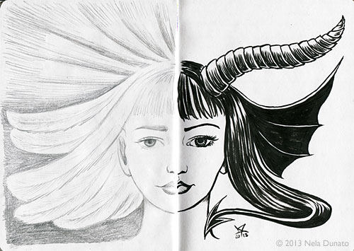 Dualist - angel and demon graphite and ink portrait