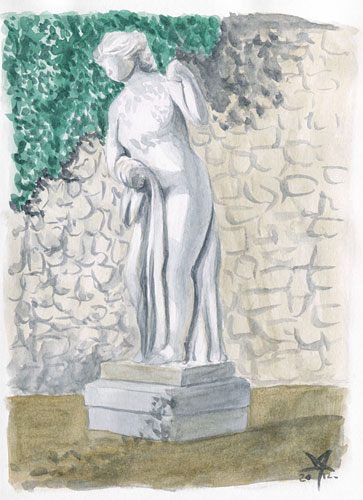 Statue of a woman watercolor sketch