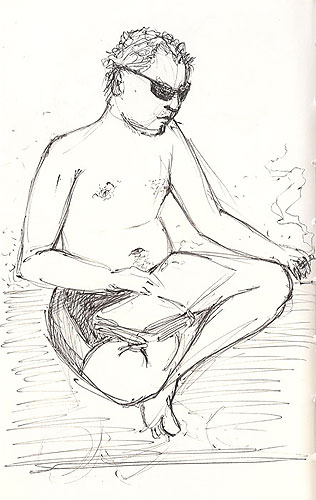 sketch young man reading
