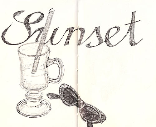 sketch glass glasses sunset