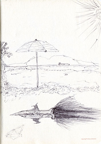Beach and spaceship sketch ballpoint pen by David
