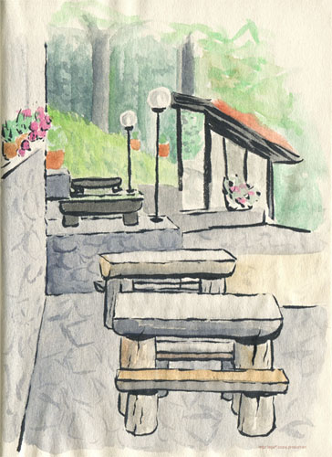 Tavern terrace watercolor and ink sketch