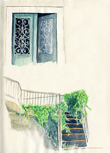Watercolor sketches - front door with ironwork and foliage over the stairs