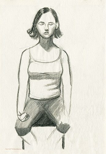 Girl meditating sketch