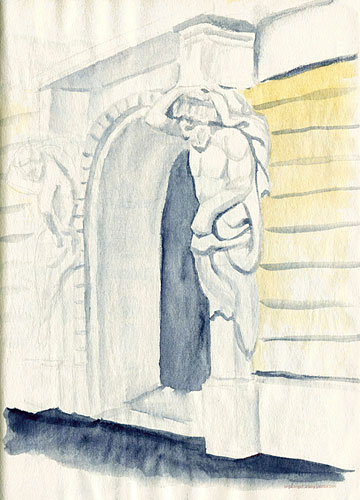 Portal statues in Rijeka watercolor sketch