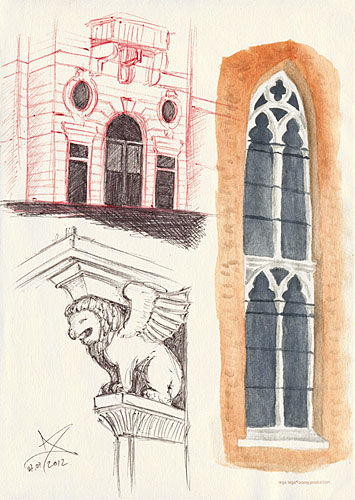 Rijeka fragments - Palazzo Adria, winged lion and Capuchin church window - ballpoint pen and watercolor