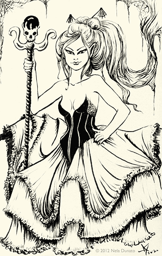 Spider lady in a dress ink sketch