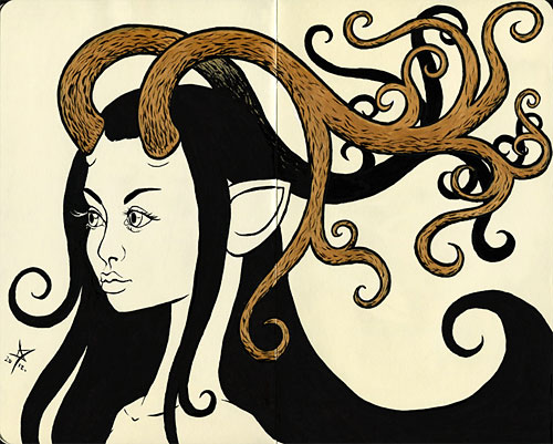 Art nouveau antler girl black and gold
