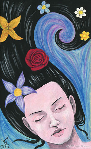Flowers in her hair gouache painting