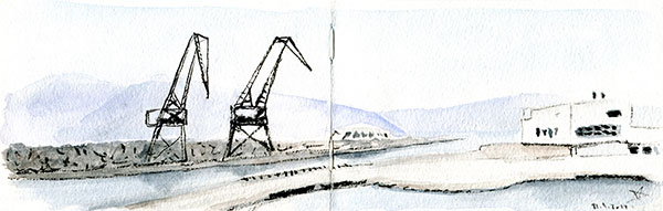 Rijeka port with cranes watercolors sketch