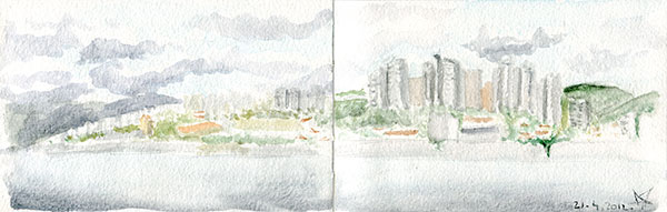 Rijeka panorama watercolor sketch