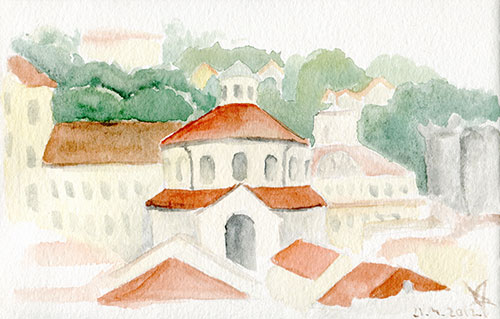 Rijeka rooftops watercolor sketch