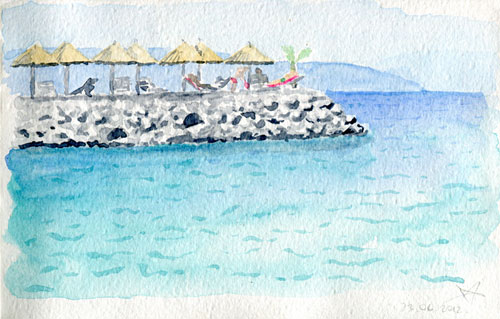 Beach bar watercolor sketch