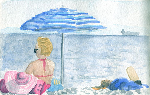 Beach watercolor sketch