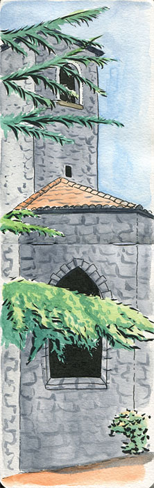 Tower of dominican monastery watercolor and ink sketch