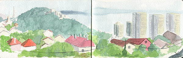 Urban sketching of Rijeka in watercolour