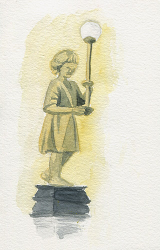 Statue sketch in watercolor