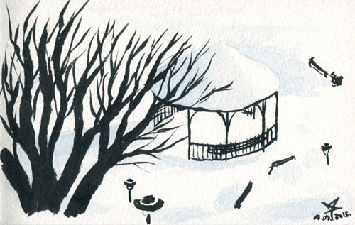 Gazebo in the snow watercolor and ink sketch
