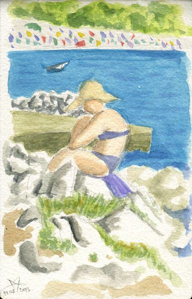Woman reading on the beach watercolor sketch