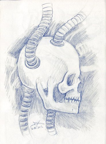 Sci-fi skull graphite pencil sketch