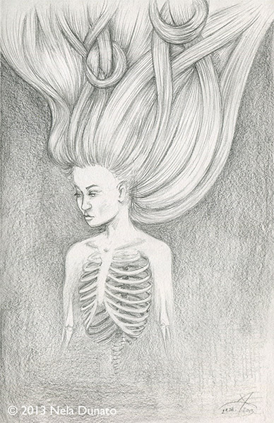 Surreal pencil sketch - tangled hair