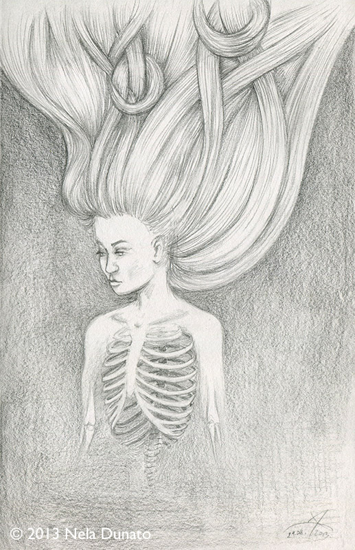 Surreal pencil sketch tangled hair