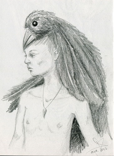 Surreal pencil sketch - boy with a bird hood