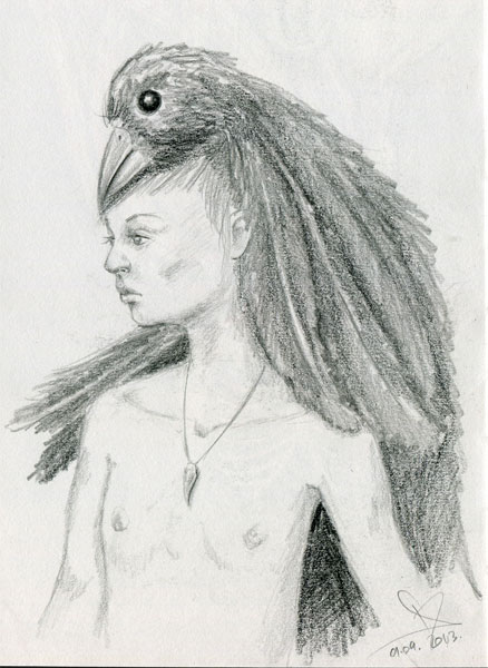 Surreal pencil sketch boy with a bird hood