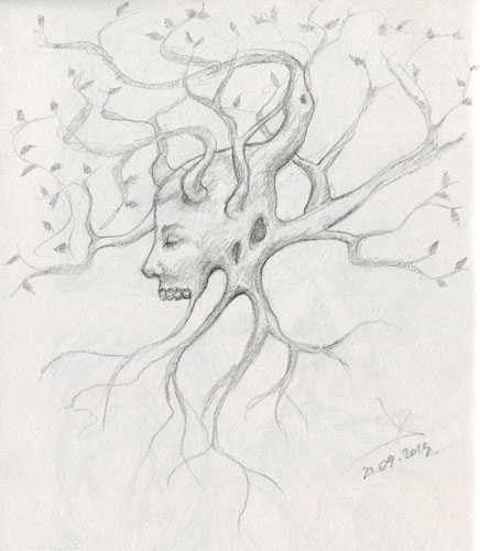 Surreal pencil sketch - random creepy tree creature