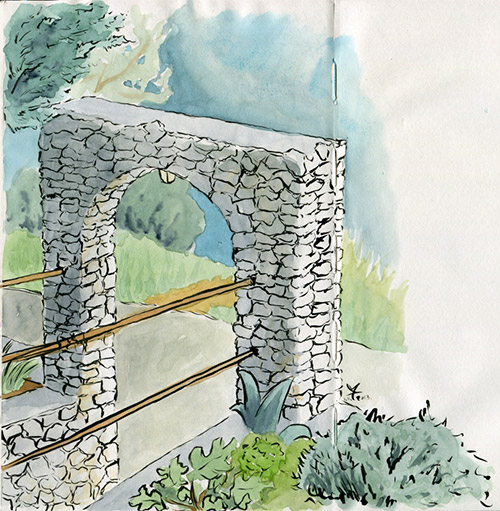Stone arch - ink and watercolor sketch