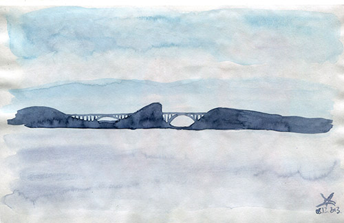 Krk bridge - watercolor sketch