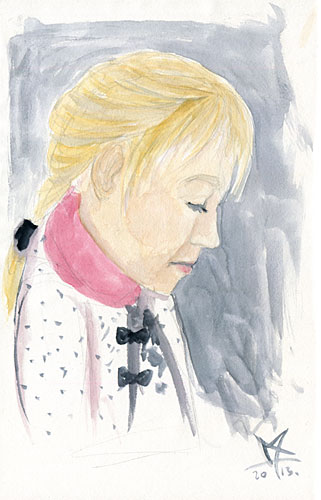 Watercolor little girl portrait