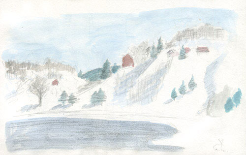 Fuzine and Bajer lake watercolor sketch