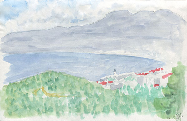 Kvarner view from a hill watercolor sketch