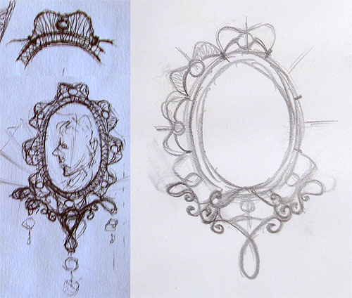 jewelry sketch cameo brooch