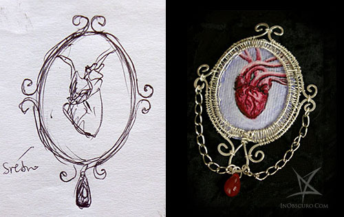 jewelry sketch anatomic heart brooch